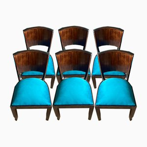 Art Deco Macassar Ebony Dining Chairs, 1935, Set of 6