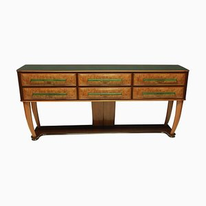 Large Mid-Century Credenza in Walnut with Unusual Glass Detailing, 1950s