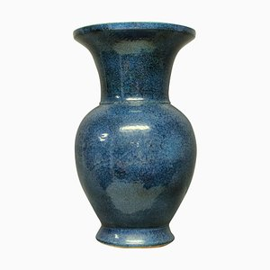 Mid-Century Blue Glazed Ground Vase