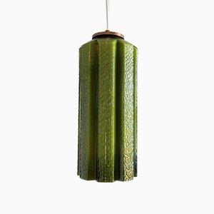 Lampe à Suspension Mid-Century en Verre Vert par Helena Tynell pour Flygsfors, Suède, 1960s