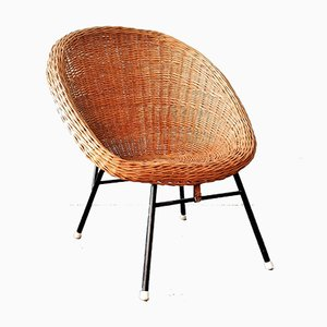 Mid-Century Rattan Lounge Chair in the Style of Dirk van Sliedregt for Rohé Noordwolde, 1960s
