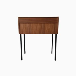 Mobiletto per macchina da cucire vintage in legno, anni '60
