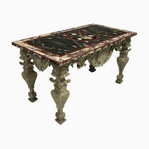 Italian Baroque Carved & Painted Pietra Dura Centre Table