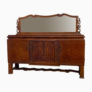 Italian Burr Tuja Sideboard with Mirror, 1930s, Set of 2