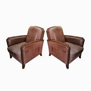 Vintage Leather Lounge Chairs, 1960s, Set of 2