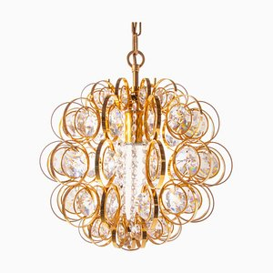 German Swarovski Crystal and Gilt Brass Chandelier by Christoph Palme for Palwa, 1960s