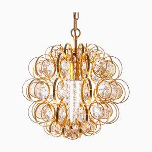 Lampadario in cristallo Swarovski e ottone dorato di Christoph Palme per Palwa, Germania, anni '60