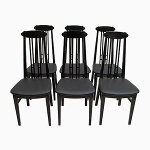Black Lacquered Ash Dining Chairs in the Style of Charles Rennie for McIntosh, 1979, Set of 6