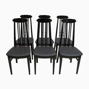 Schwarz Lackierte Esszimmerstühle aus Esche im Stil von Charles Rennie für McIntosh, 1979, 6er Set