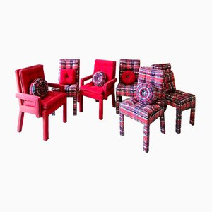 Vintage American Tartan & Plaid Upholstered Dining Chairs, 1980s, Set of 6