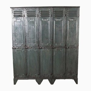 French Metal 5-Door Locker from Gantois, 1930s