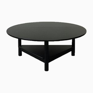 Italian Matt Black Solid Wood Oval Coffee Table with Book Opening, 1980s