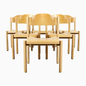 Stacking Beech Dining Chairs from Hiller, 1970s, Set of 6
