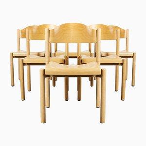 Stapelbare Esszimmerstühle aus Buche von Hiller, 1970er, 6er Set