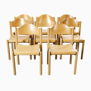 Stacking Beech Dining Chairs from Hiller, 1970s, Set of 8