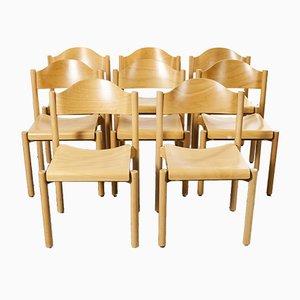 Stapelbare Esszimmerstühle aus Buche von Hiller, 1970er, 8er Set