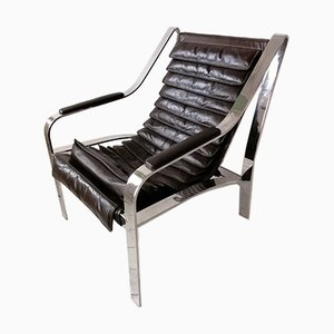 Vintage Dark Brown Leather & Flat Bar Chrome Lounge Chair, USA, 1980s