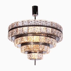 Swedish Crystal & Nickel 18-Light Chandelier by Carl Fagerlund for Orrefors, 1960s