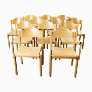 Stacking Beech Dining Chairs from Hiller, 1970s, Set of 12