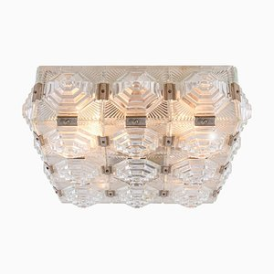Bohemian Flush Mount Ceiling Light in Glass & Chrome by Kamenicky for Kamenický Šenov, 1960s