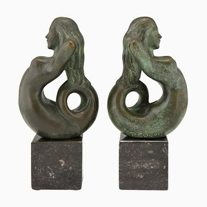 Mid-Century Bronze Mermaid Bookends by Rene Cliquet, 1970s, Set of 2