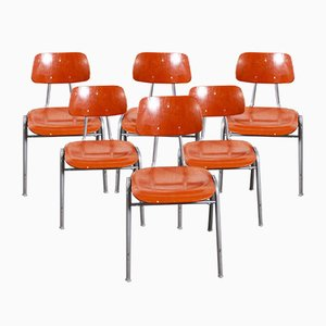 Red Stacking School University Dining Chairs, 1960s, Set of 6