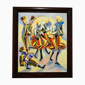 Cubist Oil Painting of Dancers and Musicians by Serge Magnin, 1960s