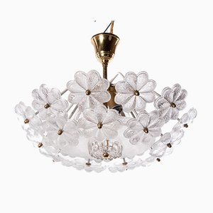 German Floral Flush Mount Chandelier in Glass & Brass by Ernst Palme for Palwa, 1960s