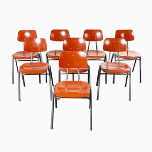 Red Stacking School University Dining Chairs, 1960s, Set of 8