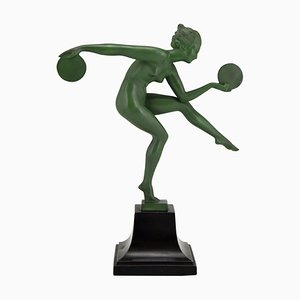 Art Deco Nude Sculpture of Disc Dancer Derenne by Marcel Bouraine for Max Le Verrier, 1930s