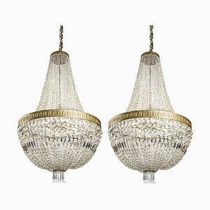 Empire Crystal Chandeliers, 1930s, Set of 2