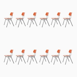 Red Stacking School University Dining Chairs, 1960s, Set of 12