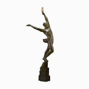Scultura Art Déco in bronzo dell'atleta del pinnacolo di Pierre Le Faguays per Les Neveux de Lehmann, 1928
