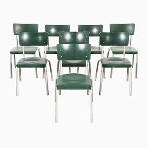 German Army Green Stacking Dining Chairs from Michael Thonet, 1970s, Set of 8