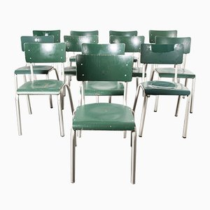 German Army Green Stacking Dining Chairs from Michael Thonet, 1970s, Set of 12