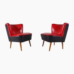 Red Faux Leather Cocktail Chairs, 1960s, Set of 2