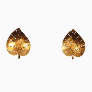 Vergoldete Monstera Wandlampen, 1970er, 2er Set