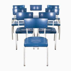 Stapelbare Deutsche Militärblaue Esszimmerstühle von Michael Thonet, 1970er, 8er Set