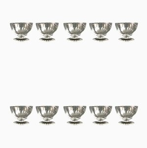 Art Deco Crystal Caviar Cups Set from Daum Nancy, 1920s, Set of 10