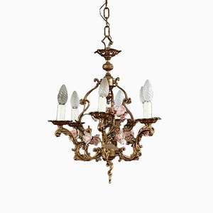 Antique Art Nouveau Gilt Bronze Chandelier Decorated with Flowers in Barbotine