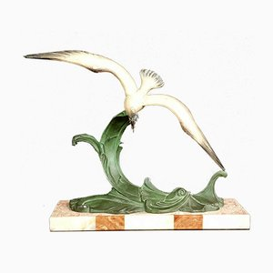 Art Deco Seagull in Polychrome Antimony after Charles Ruchot, 1930s