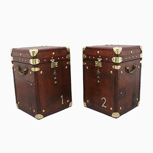 Leather Bound Ex Army Trunks, 1930s, Set of 2