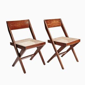 Sedie da biblioteca in teak e vimini di Pierre Jeanneret, set di 2