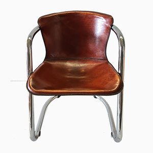 Cognac Leather Dining Chair by Willy Rizzo for Cidue, 1970s