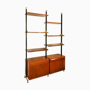 Bücherregal aus Holz & Metall mit Regalen und Fächern, 1950er