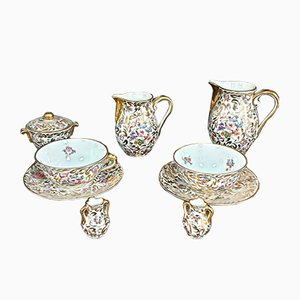 Antique Porcelain Lunch Service with Floral Decoration in Gold Highlights from Limoges, Set of 9