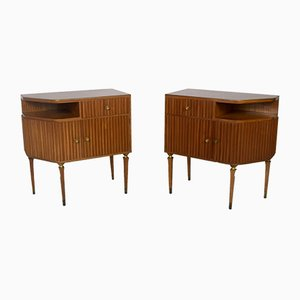 Italian Mahogany and Brass Nightstands by Paolo Buffa, 1950s, Set of 2