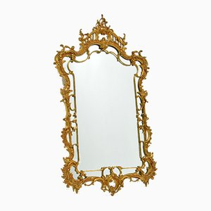 Large Chippendale Style Gilt Brass Mirror, 1930s