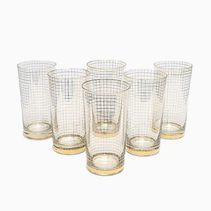 Gold-Plated Tumblers from Gebruder Podbira Haida, 1940s, Set of 6