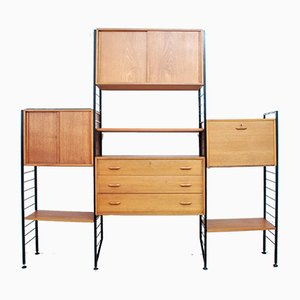 British 3-Bay Ladderax Modular Storage Unit with Metal Ladders by Robert Heal for Staples Cricklewood, 1960s, Set of 11